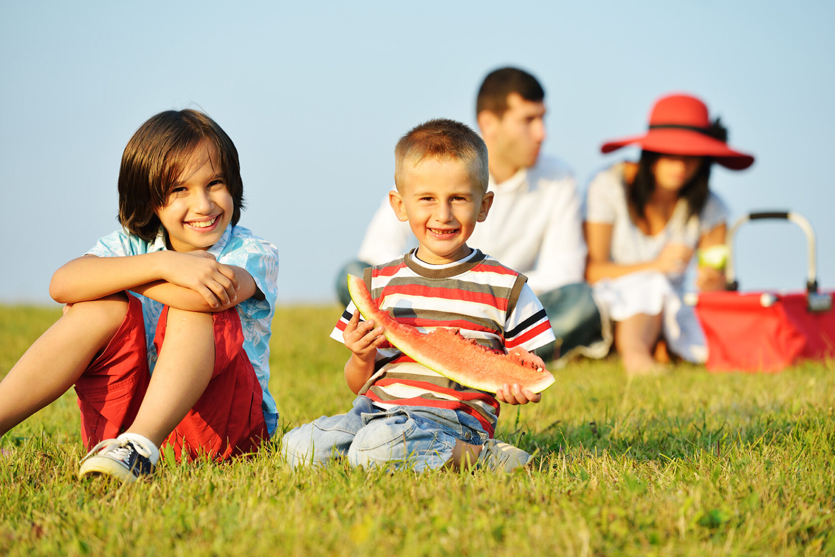 Cheerful,Children,On,Beautiful,Summer,Meadow,Enjoying,And,Having,Picnic